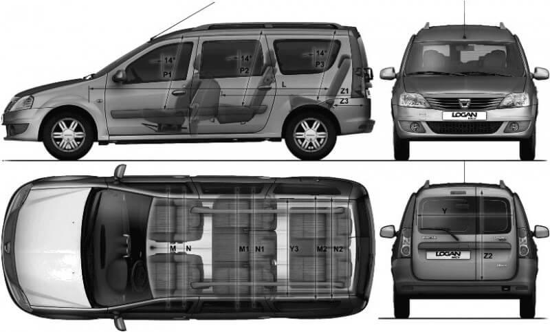 Чертеж Dacia Logan MCV 2014
