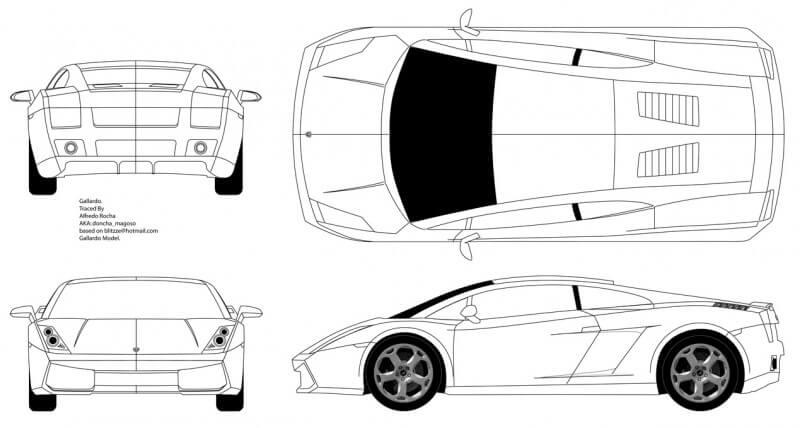 Lamborghini Gallardo чертеж