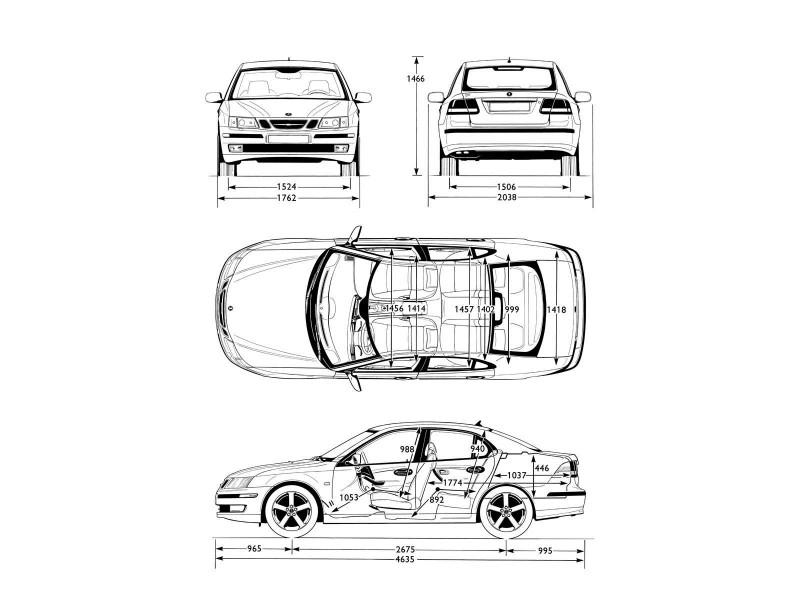 Saab 9-3 sedan чертеж