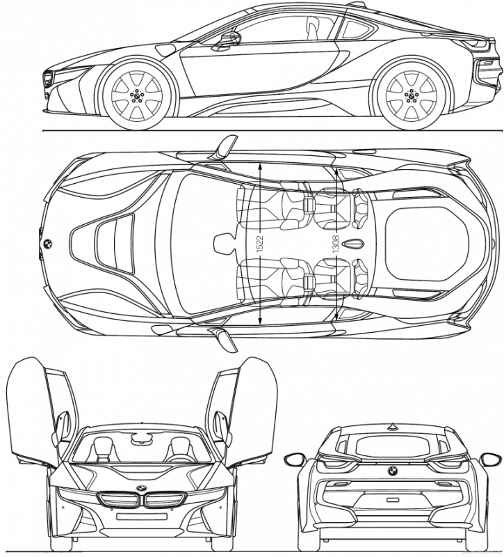 BMW i8 чертеж