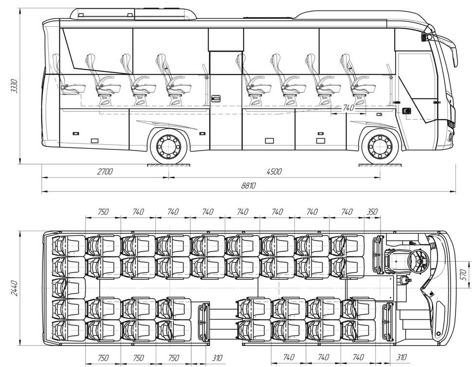 Чертеж автобуса Атоман