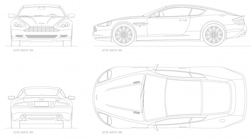 Aston Martin DB9 чертеж