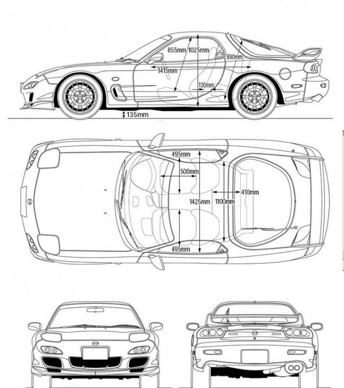 чертеж Mazda RX-7