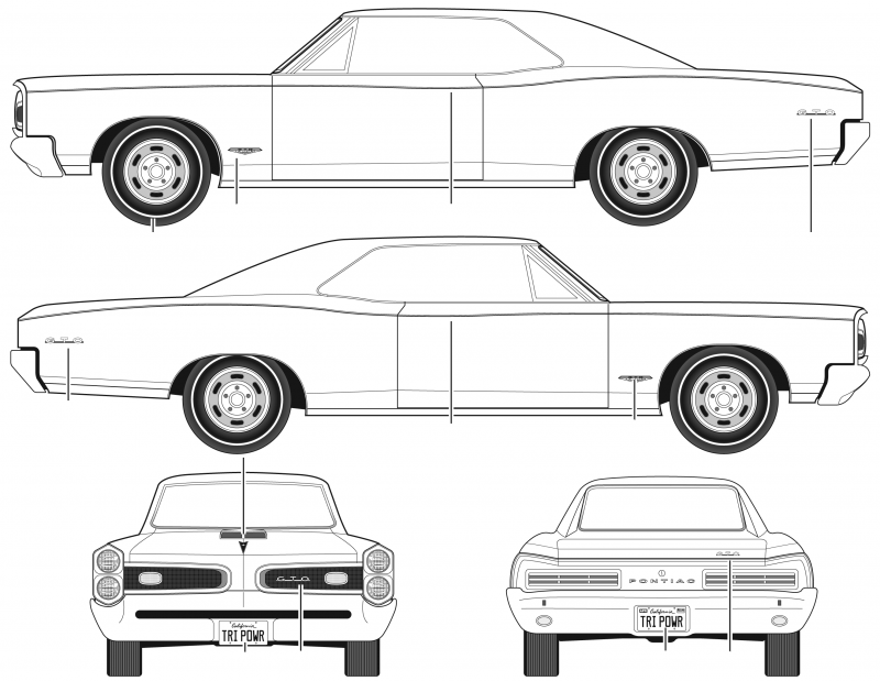 Pontiac GTO чертеж 1965 года