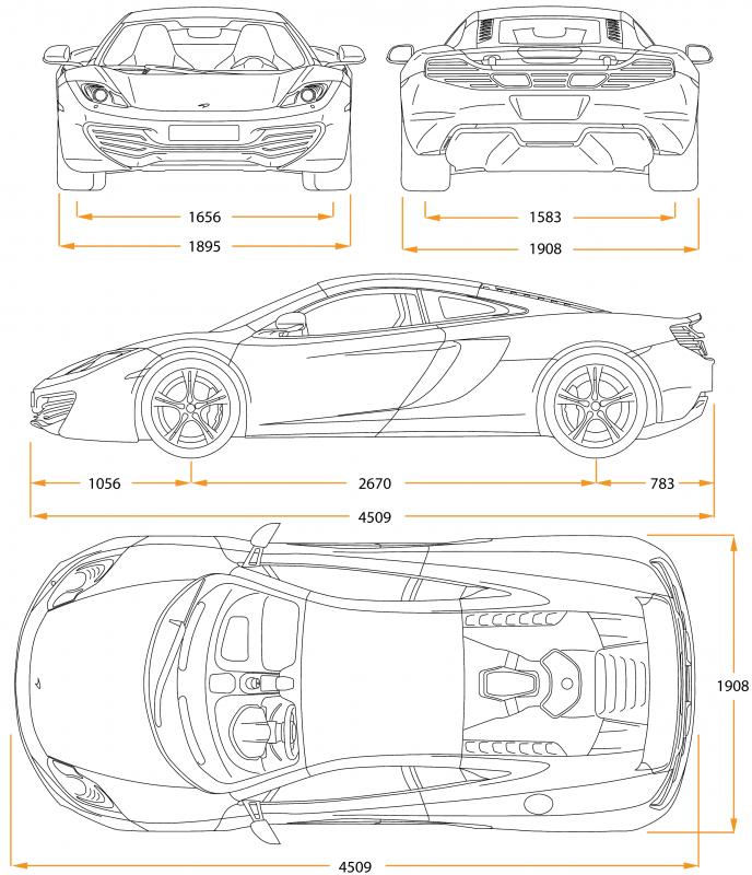 McLaren MP4-12C чертеж