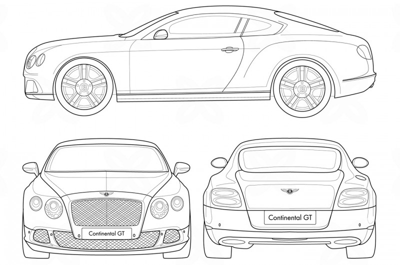 Bentley Continental GT чертеж