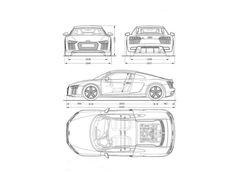 Audi R8 чертеж